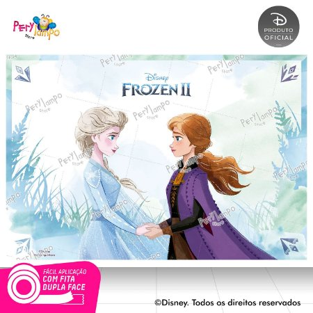 Painel Festa Decorativo Frozen 2 - Aquarela 3 - 1,45m x1,00m
