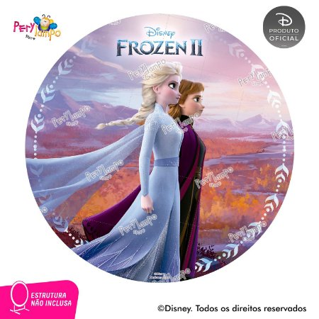 Painel festa Decorativo Redondo - Frozen 2 - Reino - 1,45D