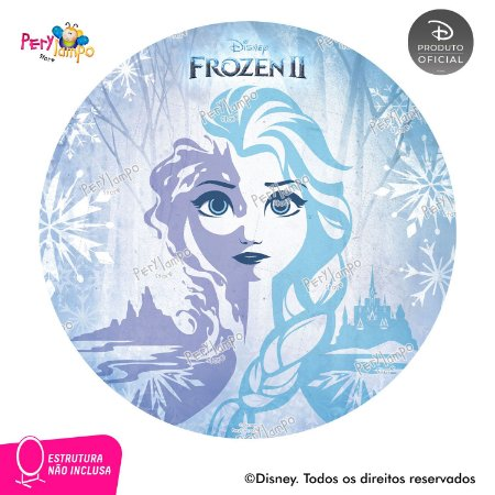 Painel Decorativo Redondo - Frozen 2 - Elsa Neve - 1,45D