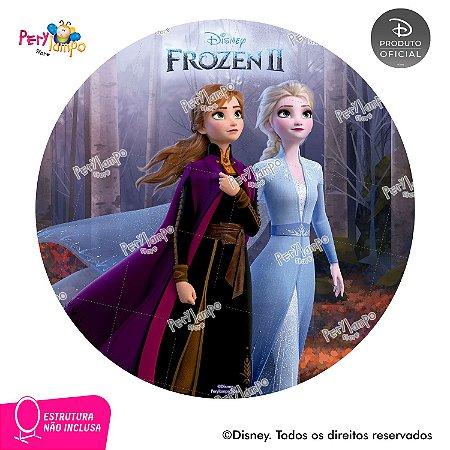 Painel festa Decorativo Redondo - Frozen 2 - Floresta -1,45D