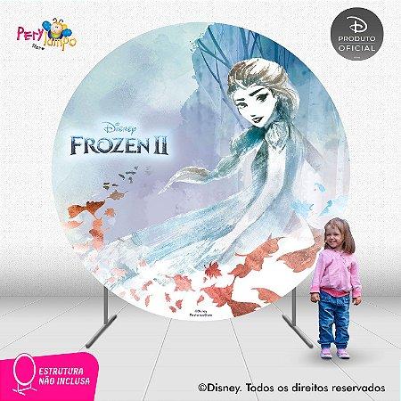 Painel Decorativo - Redondo - Frozen 2 - Elsa Folhas -2,10D