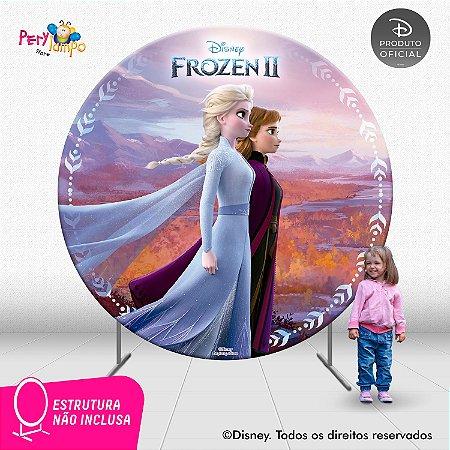 Painel Festa Decorativo Redondo - Frozen 2 - Reino - 2,10D