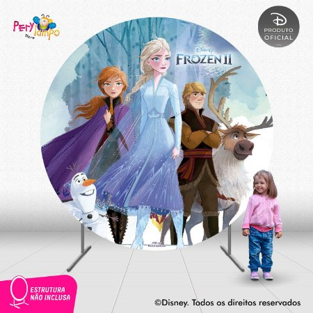 Painel de Festa Decorativo Frozen 2 Redondo - Turma 1- 2,10D