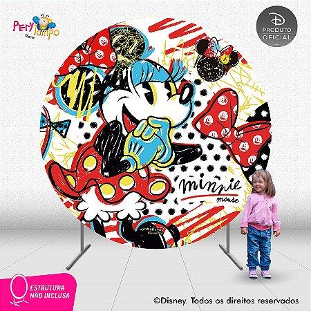 Painel festa Decorativo Redondo - Minnie Conceito - 2,10D