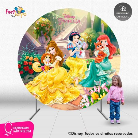 Painel festa Decorativo Redondo - Princesas e Pets - 2,10D