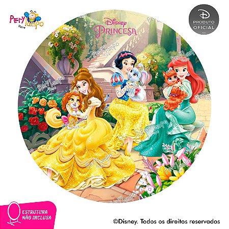 Painel festa Decorativo Redondo - Princesas e Pets - 1,45D