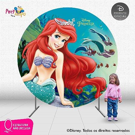 Painel Decorativo Redondo Peq Sereia -Ariel Fundo Mar -2,10D
