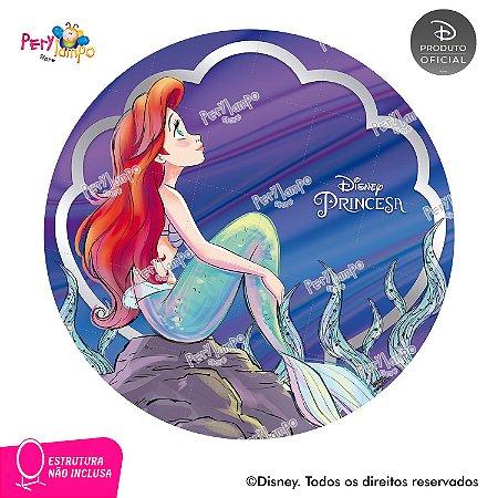 Painel Decorativo Redondo-Pequena Sereia-Ariel 30 anos-1,45D