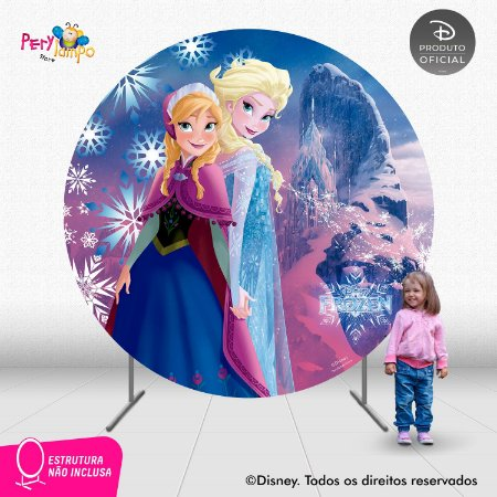 Painel de festa Decorativo Redondo - Frozen Rosa - 2,10D