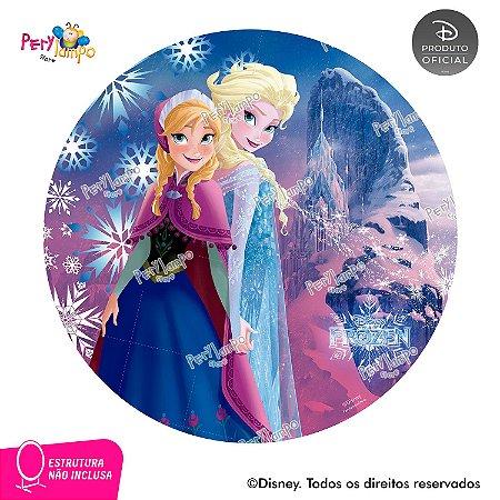 Painel de festa Decorativo Redondo - Frozen Rosa - 1,45D