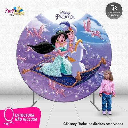 Painel festa Decorativo Redondo Aladdin Jasmine Tapete - 2,10