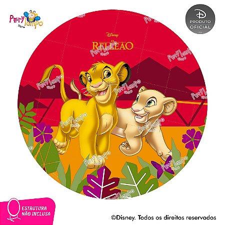 Painel Decorativo Redondo - O Rei Leão SImba e Nala - 1,45D-