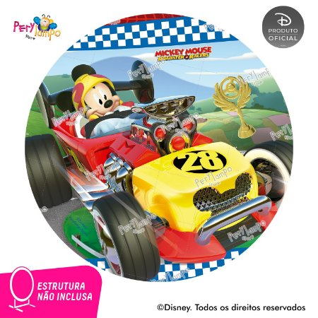 Painel festa Decorativo Redondo Mickey Sobre Rodas - 1,45D