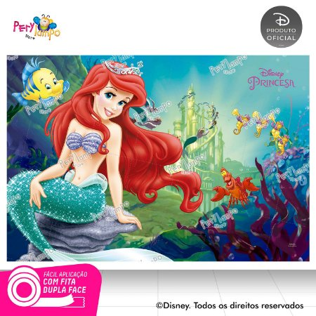 Painel Decorativo Pequena Sereia-Ariel Fundo Mar-1,45x1,00m