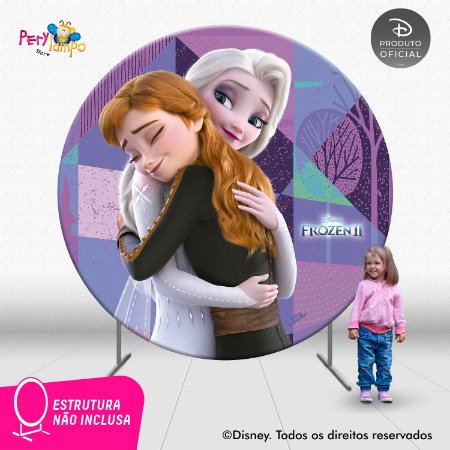 Painel Decorativo Redondo Frozen 2 - Amor de Irmãs - 2,10D