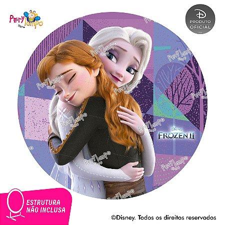 Painel Decorativo Redondo Frozen 2 - Amor de Irmãs - 1,45D
