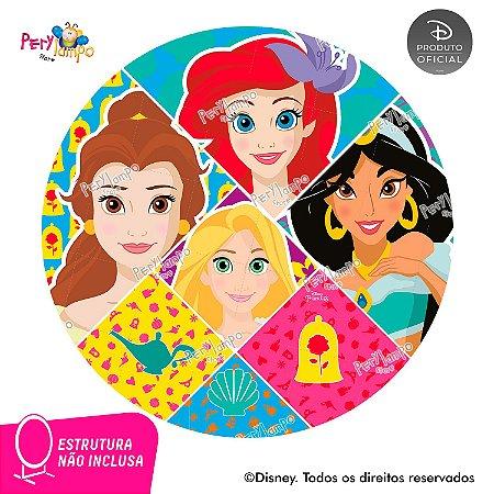 Painel Redondo Princesas Disney - Atitude que brilha-1,45D