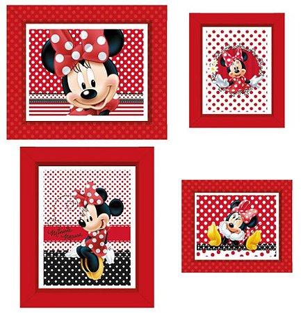 Quadrinho Decorativo Retangular Minnie Vermelha - Disney