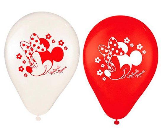 """Balões Látex 9"""" Sortidos Minnie Vermelha - Disney"""