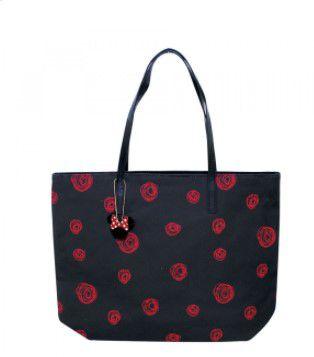 Bolsa Preta Detalhes Rosas Vermelhas Minnie - Disney