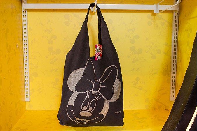 Bolsa Preta Estampa Minnie Dourada Mochilão - Disney