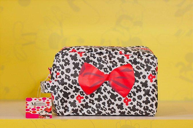 Necessaire Minnie Preto com Branco Laço Vermelho - Disney
