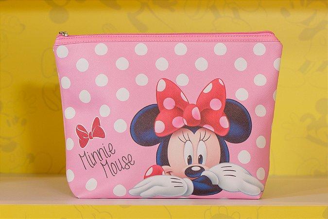Necessaire Minnie Rosa com Poa 22 x 7 x 29cm - Disney