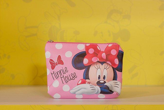 Necessaire Minnie Rosa com Poa 16 x 5 x 22 cm - Disney