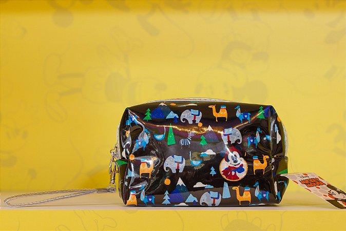 Necessaire Mickey Preto Lhamas 8 x 11 x 18 cm - Disney