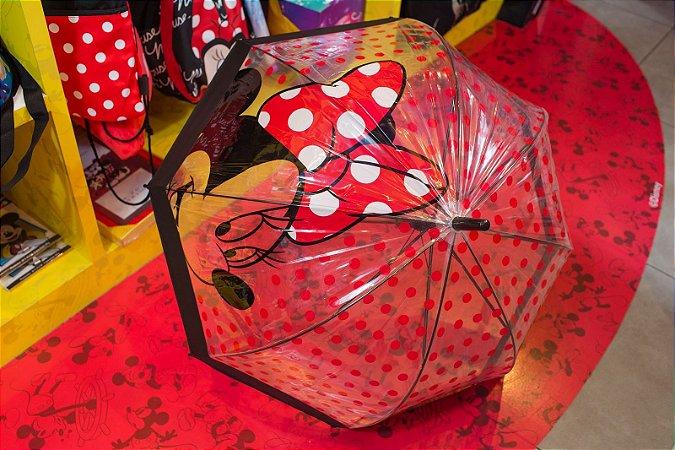 Guarda Chuva grande Rosto Minnie Poá Vermelho - Vermelho