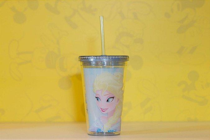 Copo Com Canudo Azul Frozen Elsa - Disney
