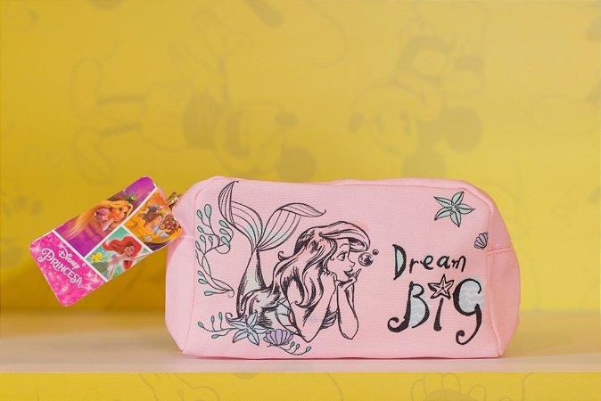 Necessaire Estojo Rosa Ariel - Pequena Sereia - Disney