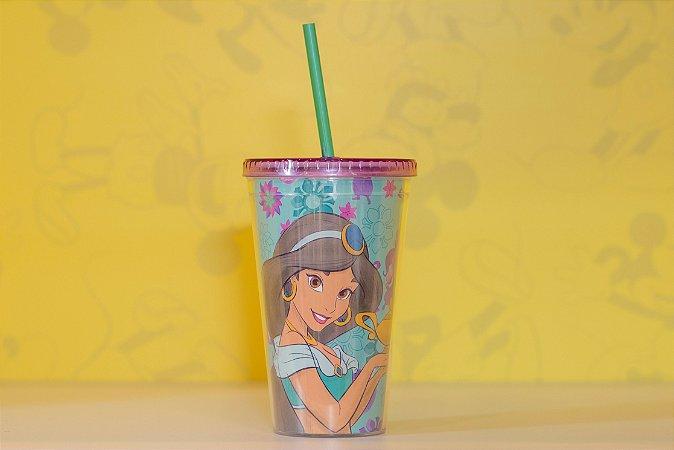Copo com Canudo Roxo Jasmine - Aladim - Disney