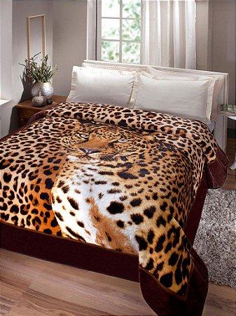 Cobertor Casal Leopardo Jolitex Ternille Kyor Plus 1,80cm x 2,20cm