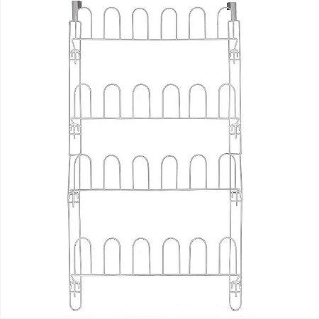 Sapateiras de Porta ou Parede Aço Branco 24 Divisórias