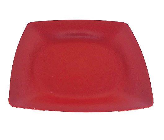 50 Prato Quadrado Vermelho Plástico Duro