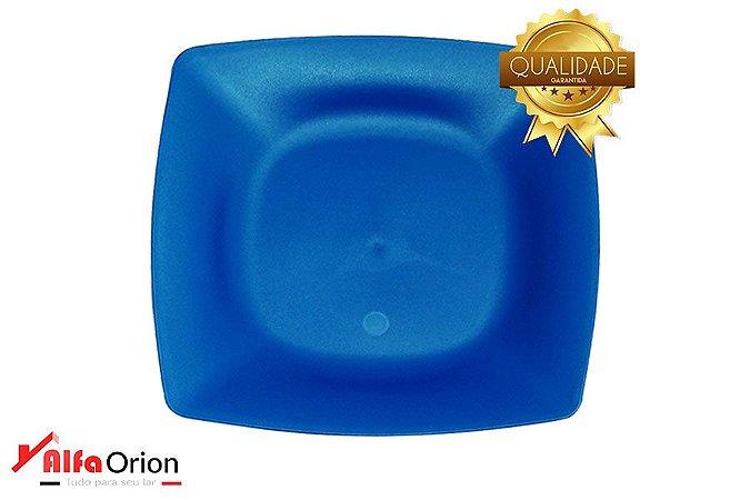 Pratos De Plástico Quadrado Azul  Duro 24 x 24 Cm