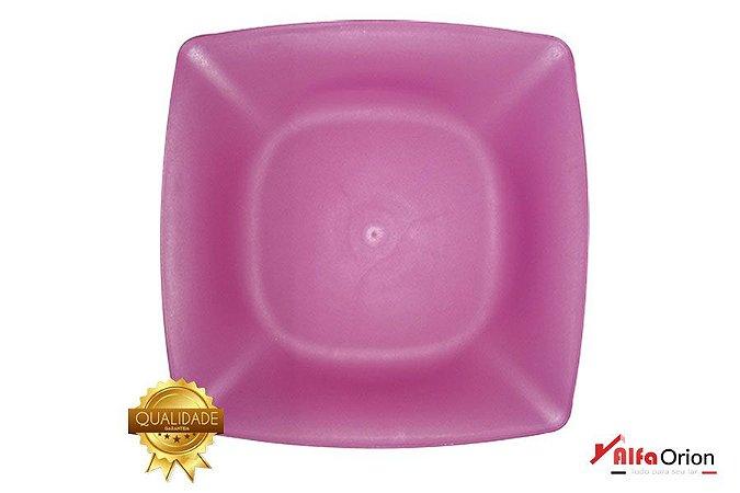 Pratos De Plástico Quadrado Rosa  Duro 24 x 24 Cm