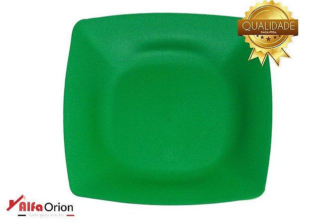 Pratos De Plástico Quadrado Verde Duro 24 x 24 Cm
