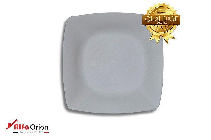 Pratos De Sobremesa Plástico Branco Duro 18 x 18 Cm