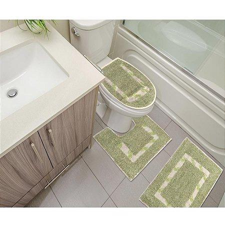 Kit Tapete De Banheiro Jogo Com 3 Peças Em Algodão