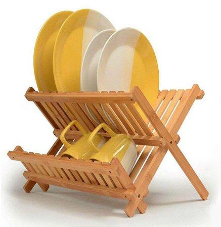 Escorredor de Bambu Dobrável Retrátil Decorativo