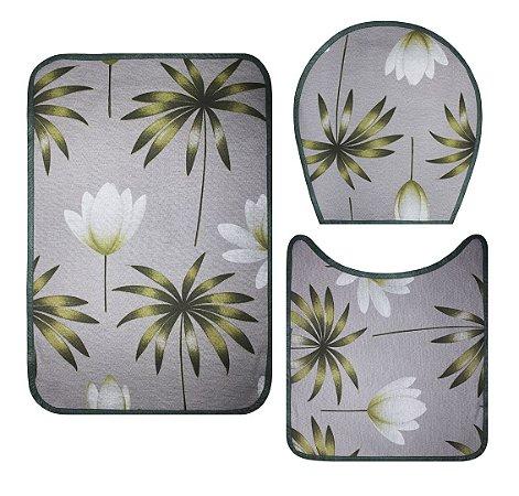 Jogo De Banheiro - Cinza Com Flores Verdes