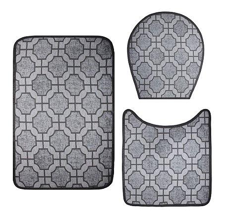 Jogo De Banheiro - Cinza Geométrico