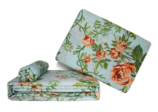 Jogo de Lençol - Casal (Flores Laranjas)