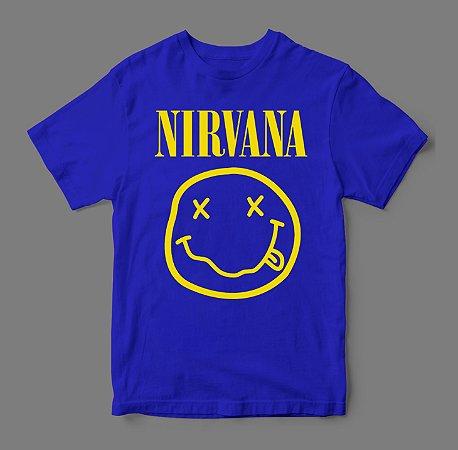 Camiseta - Nirvana Smile - Azul