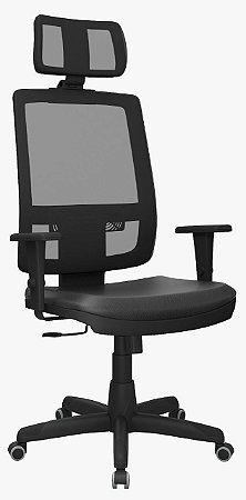 Cadeira presidente Brizza tela com encosto de cabeça