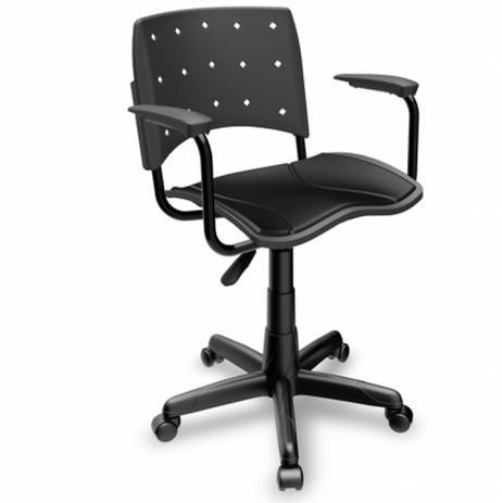 Cadeira Secretaria ergoplax com braço cor preta