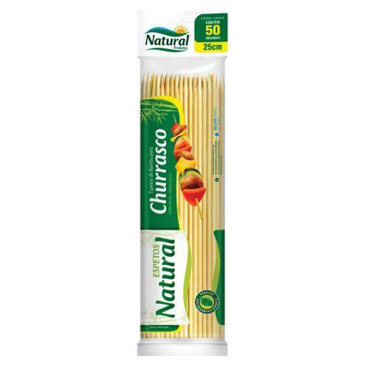 Espeto de Bambu 25cm Pacote com 50 Unidades