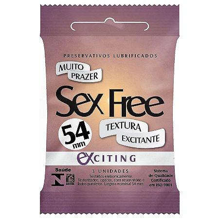 Preservativo Lubrificado Sex Free - Exciting - Textura Excitante com 3 unidades